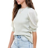 Evelyn Contrast Sleeve Mint Sweater