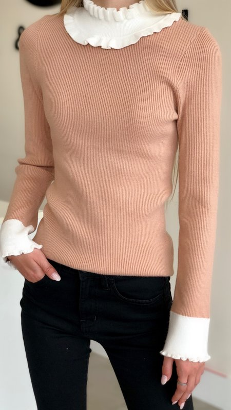 Mary Mock Neck Contrast Knit