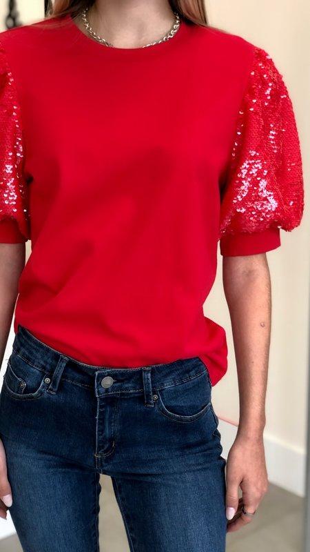 Valentine Sequin Sleeve Top