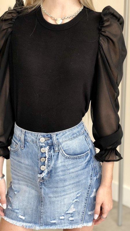 Emery Sheer Sleeve Sweater