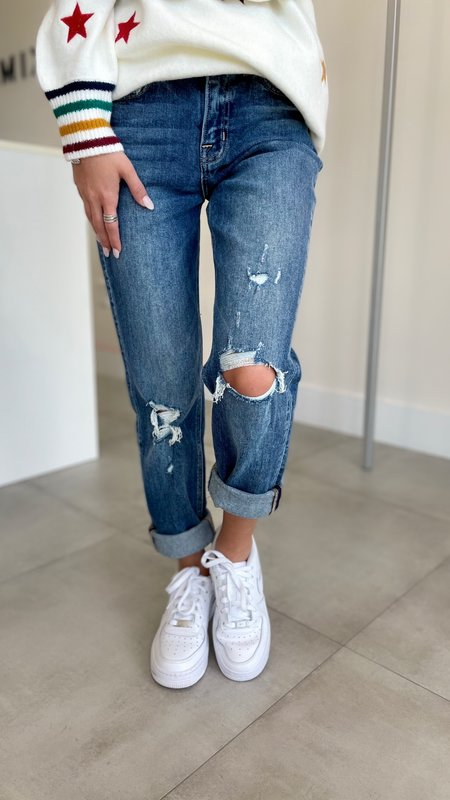 Eloise Distressed Roll Up Stretch Boyfriend Jeans