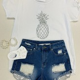 Meny Embroidery Pineapple Linen Top