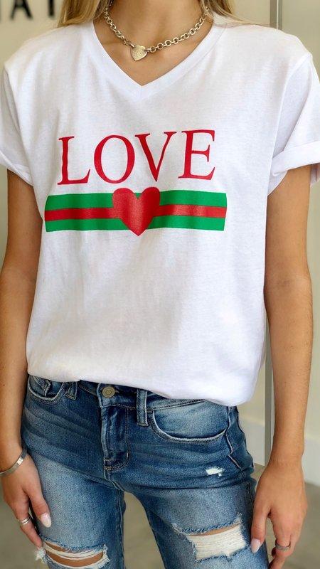 Love Green Red Heart T-Shirt