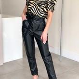 Thaela Paper Bag Waist Vegan Leather Pants