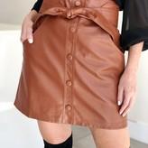 Clixta Tie Velt Vegan Leather Skirt