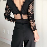Morgan Jumpsuit with Floral Mesh Sleeve