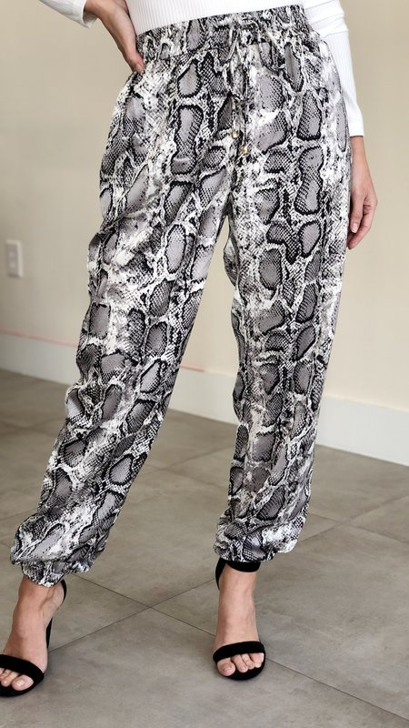 Ember Snake Print  Satin Pant