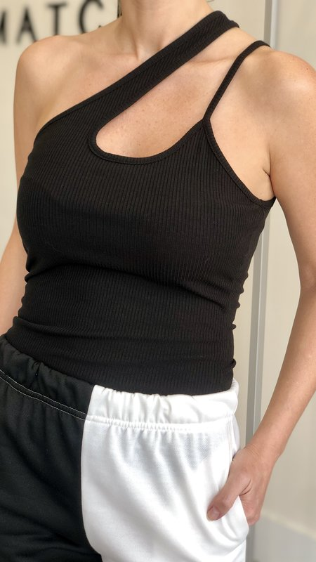 Candace Double One Shoulder Rib Top