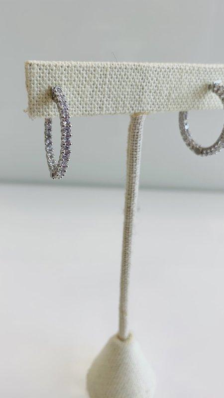 Medium Silver Diamond Hoops