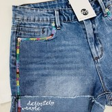 Rainbow Color Side Stripe Denim Short