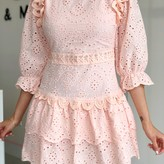 Mhia  Eyelet Ruffle Detail Midi Dress