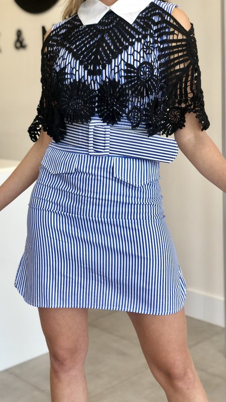 Vina Striped Dress With Collar & Lace Detail