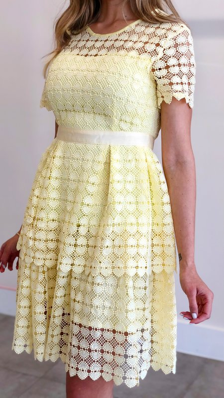 Polly Short Sleeve Layered Skirt Lace Dress