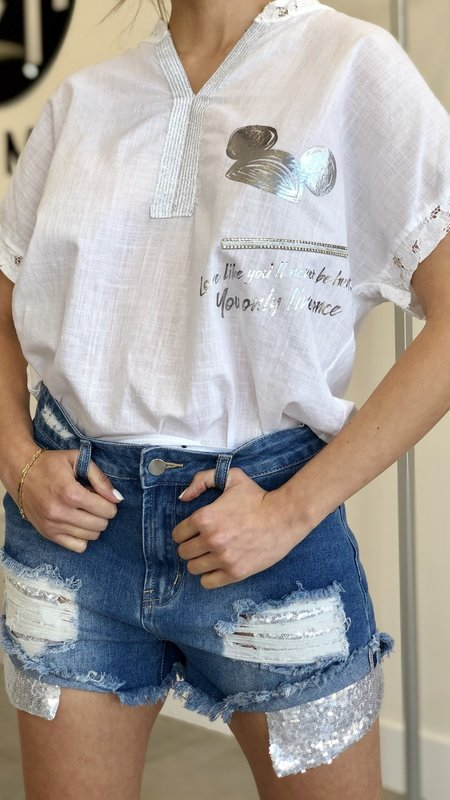 Love like you never been hurt Lace Detail Graphic Top