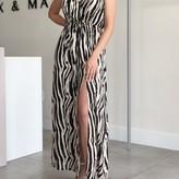 Rubie Sleeveless Tie Waist Slit Detail Zebra Print Maxi Dress