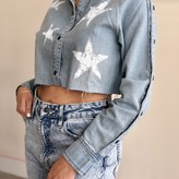 Kena Long Sleeve Snap Detail Star Denim Top