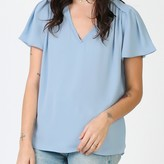 Zelda Pleated V-neck Woven Blouse