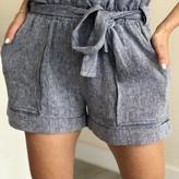Korha Paper Bag Waist Linen Shorts