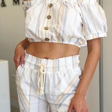 Davao Puff Sleeve Button Up Striped Crop Top