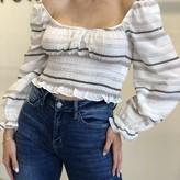 Nela Striped Smocked Long Sleeve Blouse
