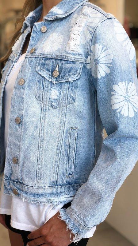 Flower Laser Print Detail Denim Jacket