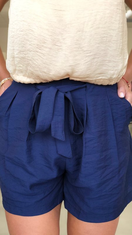 Adela Front Tie Pleated Shorts