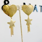 Heart & Star Chain Deatail Earrings