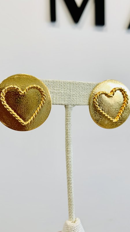 Braid Heart Roung Earrings