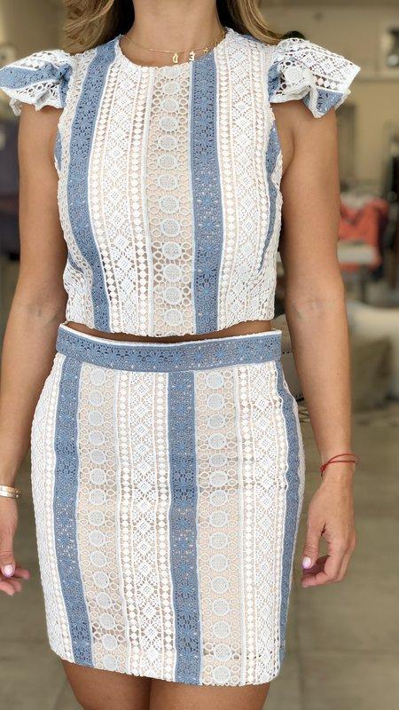 Wren Crochet Lace Striped Skirt
