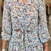 Adeline Floral Front-Tie Blouse