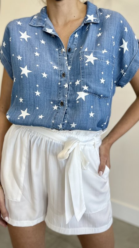 Suvi Star Print Cuffed Sleeve Button Up Shirt