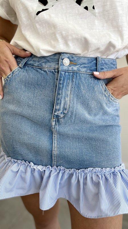 Abigail Denim Skirt with Contrast Ruffle Hem