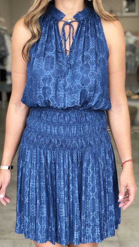 Julia Pleated Mini Dress With Split Neck