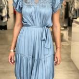 Juniper Round Neck Pleated Mini Dress Self Tie