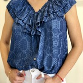 Harriet Button Down Blouse with Front Ruffles