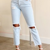 Ameka High Rise  White Stripe Straight Cut Jeans