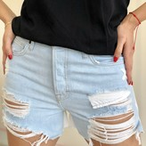 Adhela Mid Rise Color Contrast  Ripped Jean Shorts