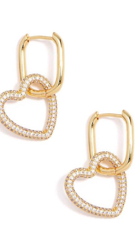 Crystal Heart Link Drop Earing