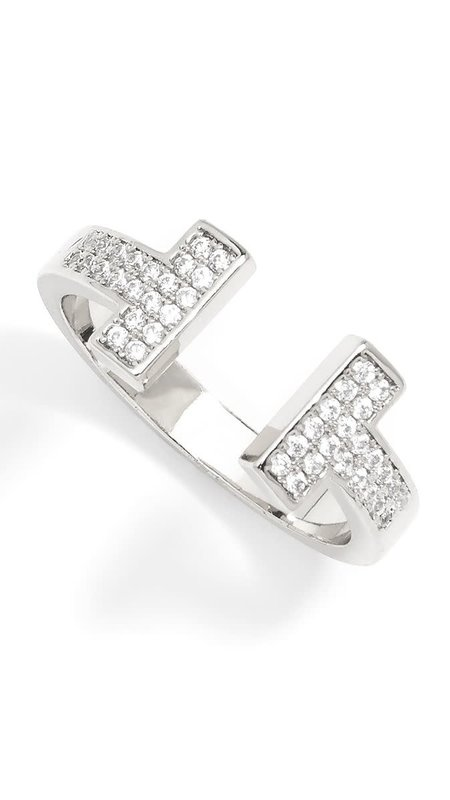 T Crystal Open Ring