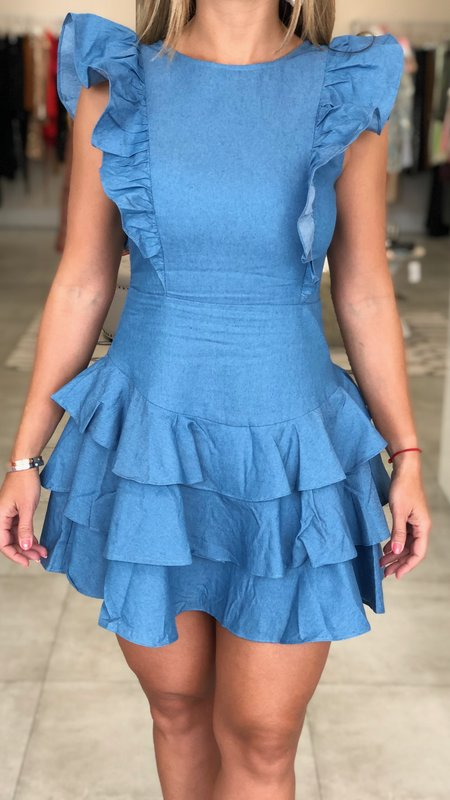 Katie Ruffled Dress with Open Back
