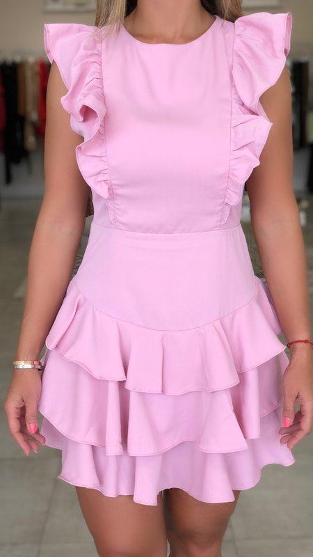 Amber Ruffled Dress -Open Back