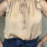Valerie Ruffle Sleeveless Blouse with Front Tie