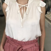 Mary Ruffle Sleeveless Blouse with Front Tie