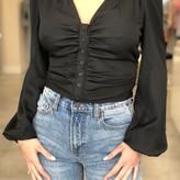 Maggie Satin Smocked Waist Blouse