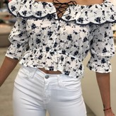 Paola Embroidered Ruffle Blouse