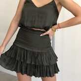 Raquel Silky Smocking Layered Skirt