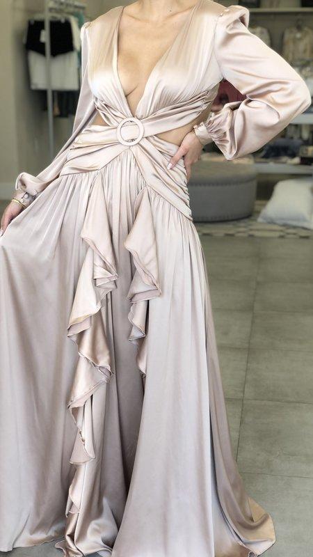 Kaiya Satin Long Sleeve Ruffle Maxi Dress