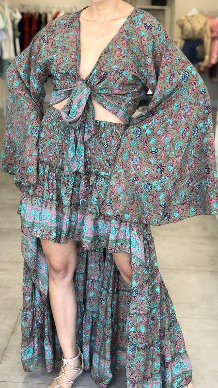 Isla Ivys Silk Skirt with Shirt Set