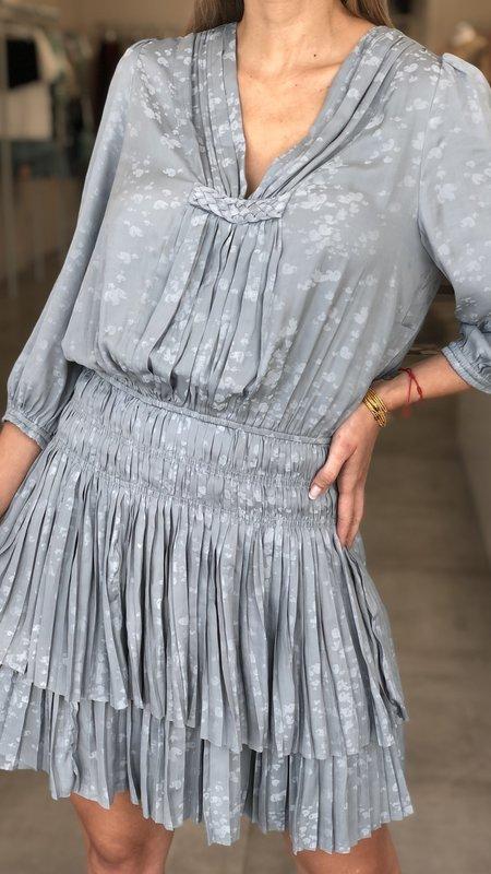 Alyson Abstract Jacquard V-Neck w/ Braided Details Mini Dress