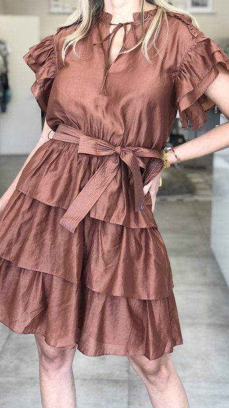 Leah Ruffled Neck w/ Tie Ruched Back Shortsleeve Mini Dress